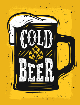 celebration background: Beer Mug Vector on yellow with text