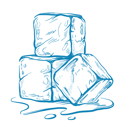 ink drawing: vector sketch of ice cubes Illustration