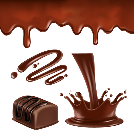 chocolate drops: Chocolate splash and ripples Illustration