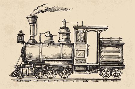 Steam locomotive transport. Hand drawn vector illustration Stock Vector - 81947477