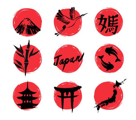 Illustratie hand getekend van schets Japan iconen. De Japanse hiërogliefen in het Japans.