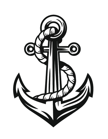 stability: Black Nautical Anchor vector on white background