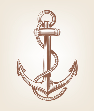 brown Nautical Anchor vector on old background