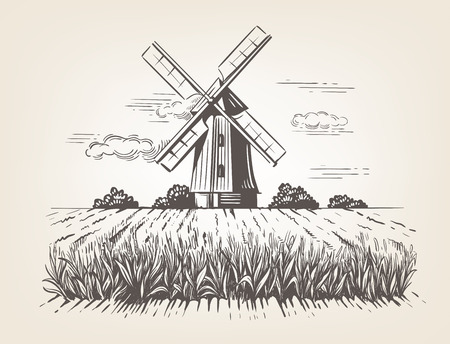 Hand getekende doodle illustratie van een land