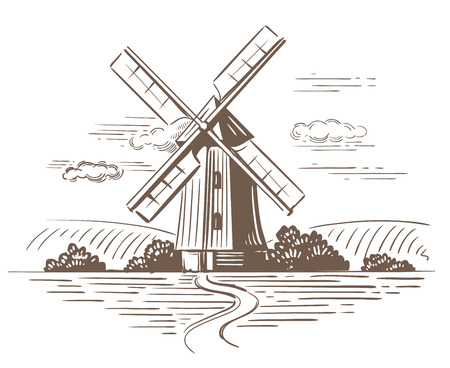 Hand drawn doodle illustration of a country
