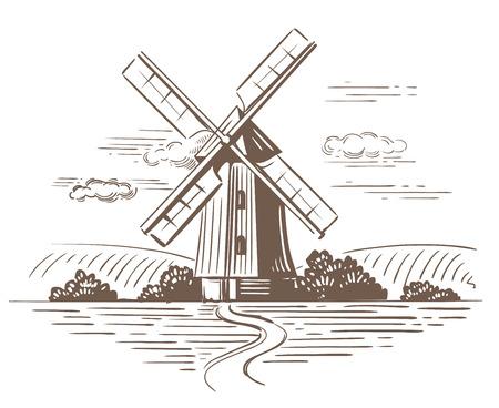 Illustrazione di doodle disegnato a mano di un paese Vettoriali