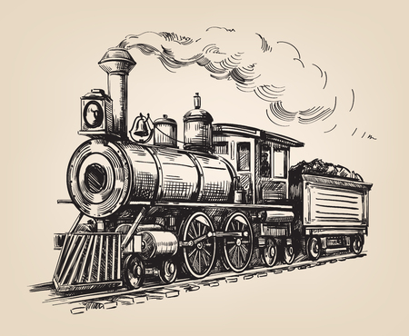 Transport de locomotives à vapeur. Illustration dessinée à main dessinée