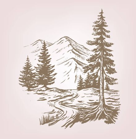 Hand drawn vector illustration of forest landscape with cabin Stock Illustratie