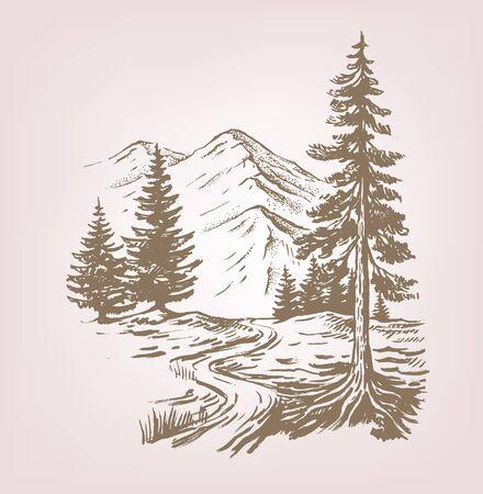 Illustrazione vettoriale disegnata a mano del paesaggio forestale con cabina