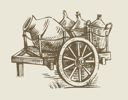 ink stain: old wooden cart transport with wine vector illustration