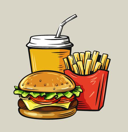 Vector illustration of fast food on beige Illustration