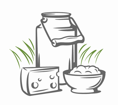 Melk blikjes met gras land stijl vector schets