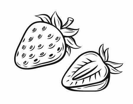 berry: Strawberry vector black pictogram isolated on white Illustration