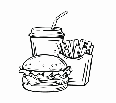 Vector illustration of fast food on white