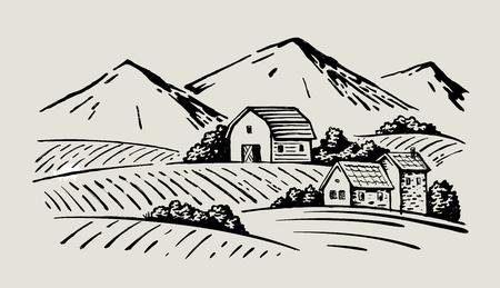 Image vectorielle de la ferme villageoise et paysagère Banque d'images - 83389186