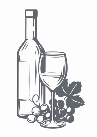 Sketch of wine bottle, glass of wine and grape