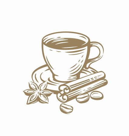 Coffee cup sketch vector template on white Illustration