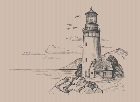seascape and nature doodle Illustration