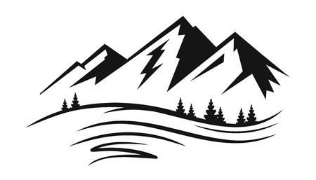 Berg en landschap vector illustratie.