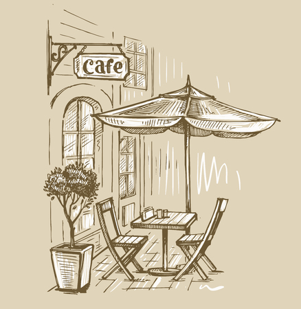 Street cafe in old town illustration