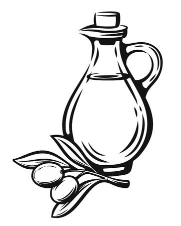 Olive with leaves label Illustration