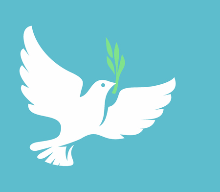 White Dove icon on blue background