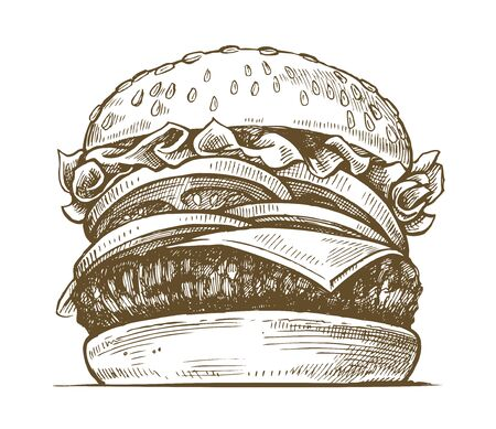 bun: Black hand drawn hamburger illustration