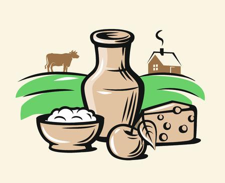 Couleur des produits laitiers des agriculteurs sur beige Banque d'images - 84656624