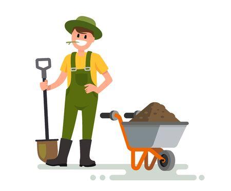 Man with shovel illustration on white