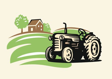 Country with tractor on beige