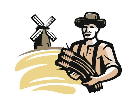 Vector farmer with wheat on beige background, vector illustration. Illustration