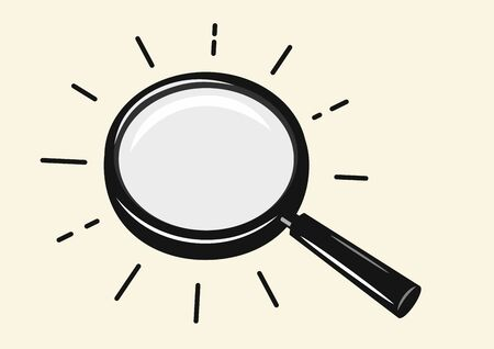 Black magnifying glass on beige