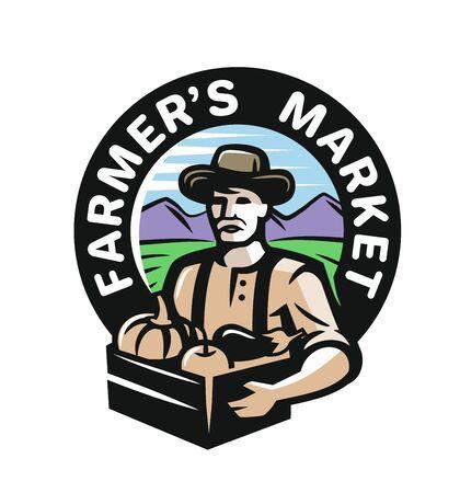 Agriculteur avec des légumes sur blanc Banque d'images - 84656632