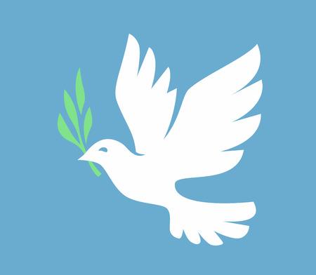 White Dove icon on blue