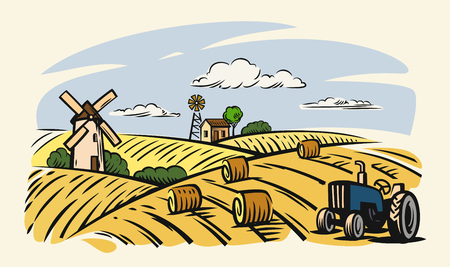 Vector country with tractor on beige background.
