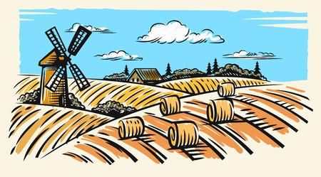 Countryside landscape with hay vector hand illustration Ilustração