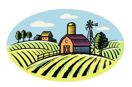 Vector image of village and landscape farm. Illustration
