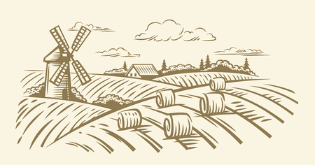 Countryside landscape with hay vector hand illustration.