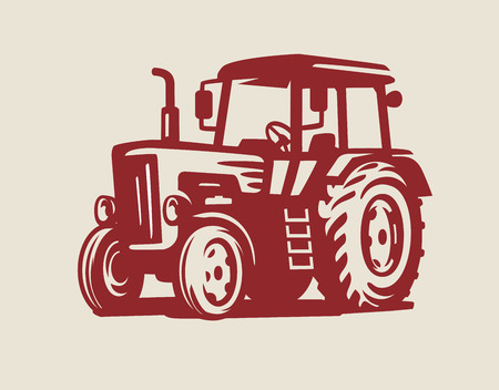 vector Tractor symbol icon on beige background