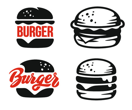 Burger emblem set on white background Vectores