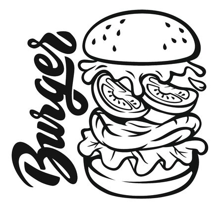 Hand drawn vector of jumping burger ingredients