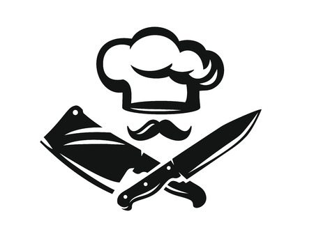 Chef hat with kitchen knife