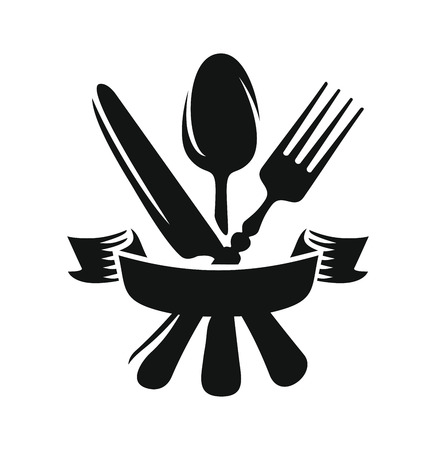 Black knife, spoon and fork