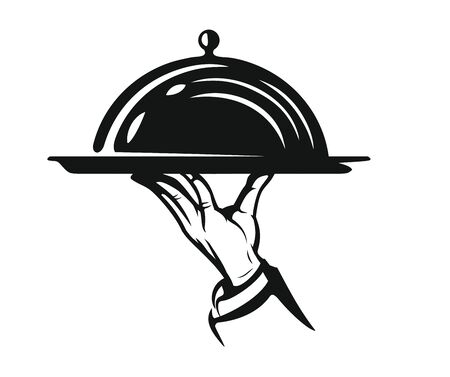 Waiter hold cloche in hand. Sign for your menu. Vector