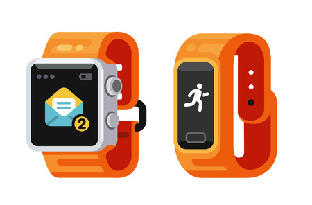 Smart Watch and fitness smart gadget. Flat style vector Vettoriali