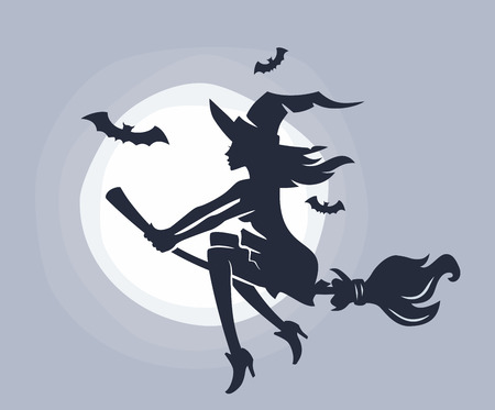 Flying young witch on a broomstick. Vector silhouette
