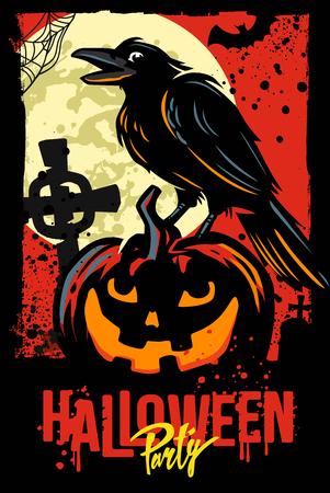 Halloween pumpkin with black raven. Vector illustration Ilustracja