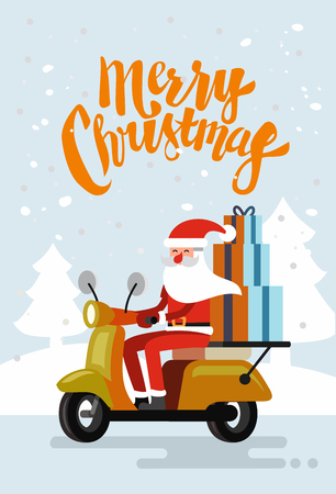 Xmas Santa Claus riding delivery scooter. Vector Illustration