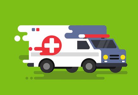 Emergency ambulance car in flat style. Vector illustration