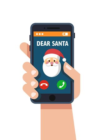 smartphone icon: Smart phone in hand. Santa claus calls. Vector flat Design style